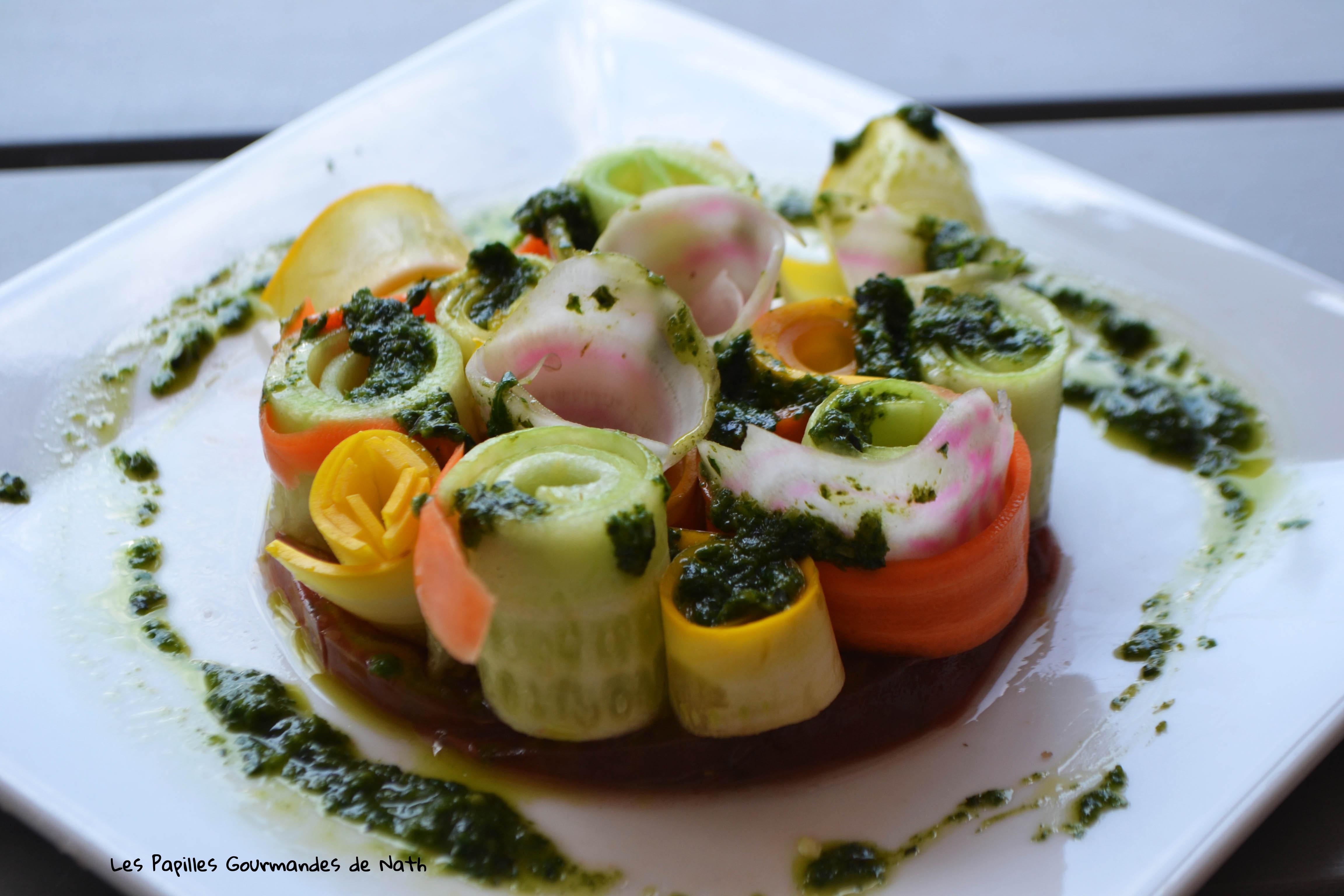 Salade croquante de légumes et son pesto basilic