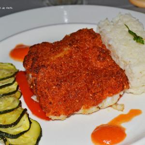 Cabillaud croute Chorizo sauce poivron rouge chorizo