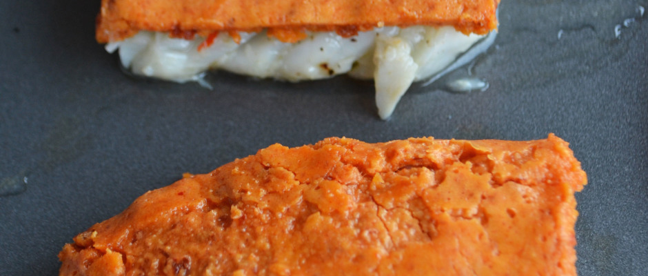 Preparation Pave cabillaud croute chorizo parmesan