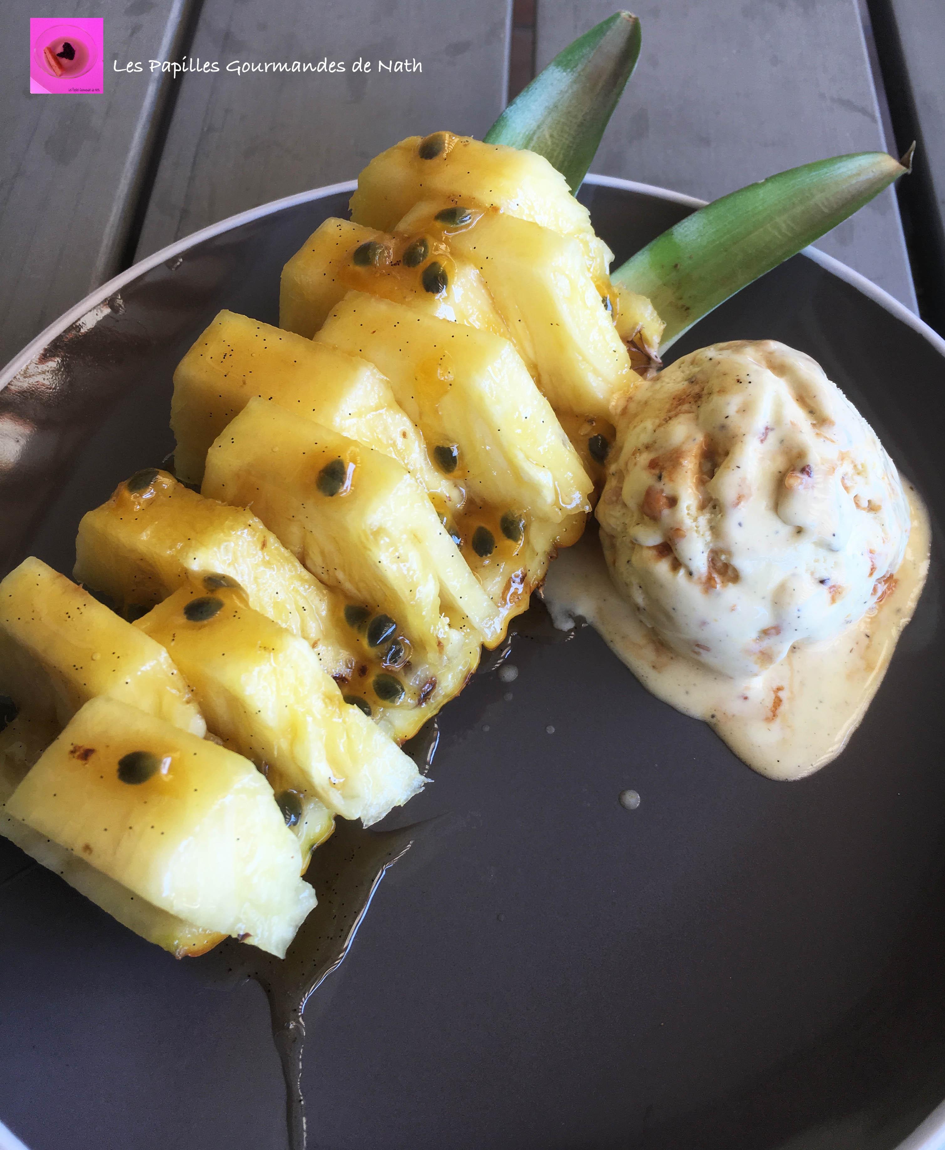Ananas sirop rhum vanille passion et glace vanille
